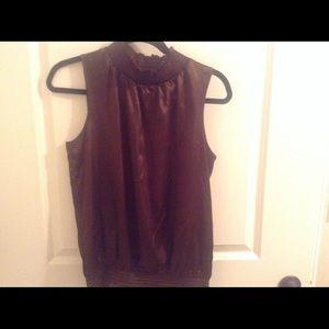 Silky brown sleeveless blouse